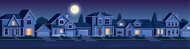 Bairro urbano ou suburbano à noite com imóveis, casas com luzes. paisagem dos desenhos animados com casas suburbanas, lua e estrelas no céu escuro. ilustração vetorial em estilo simples