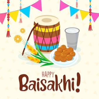 Baisakhi bateria festival indiano e comida
