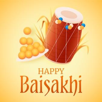 Baisakhi feliz com tambor