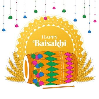 Baisakhi feliz desenhada de mão