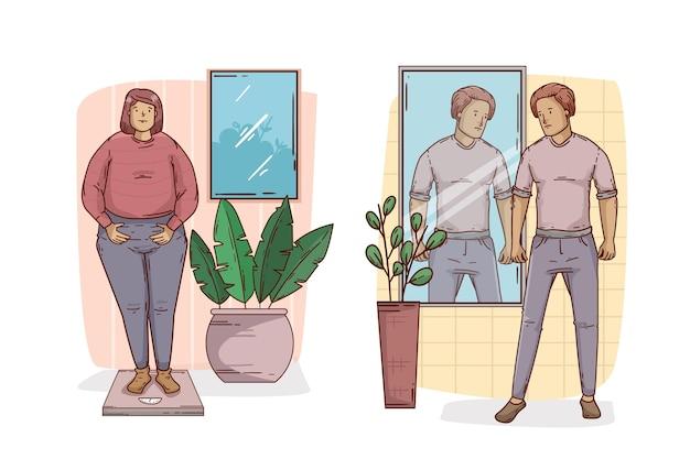 Baixa autoestima com pessoas e espelho