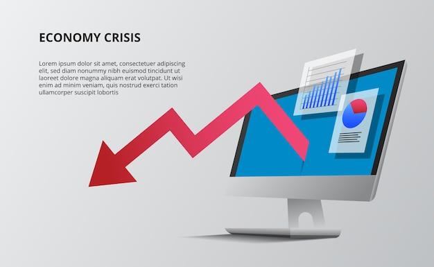 Baixa economia com seta vermelha e isométrica de perspectiva de área de trabalho de computador de dispositivo. dados infográfico visualização de dados com gráfico e estatísticas.
