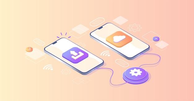 Baixando, transferindo informações programa para conexão remota entre telefones