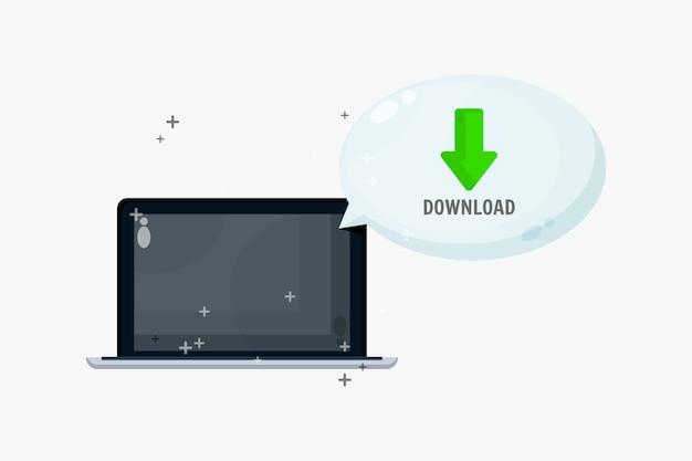 Baixar arquivos no laptop com discurso de bolha