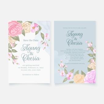 Baixar cartão de convite de casamento elegante com rosas e folhas
