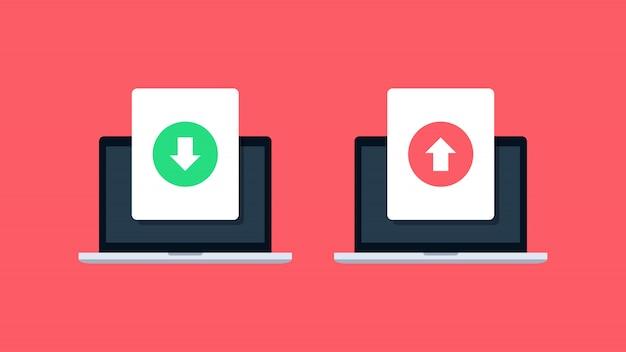 Baixar e fazer upload de arquivos em ícones de laptop