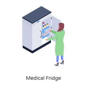 Baixar refrigerador médico em ilustração isométrica