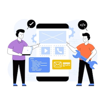 Baixe esta ilustração plana premium de desenvolvimento de aplicativos