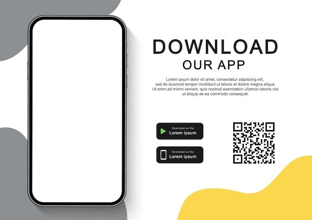 Baixe nosso aplicativo para celular. banner publicitário para download de aplicativo móvel. smartphone com tela vazia para seu aplicativo. Vetor Premium