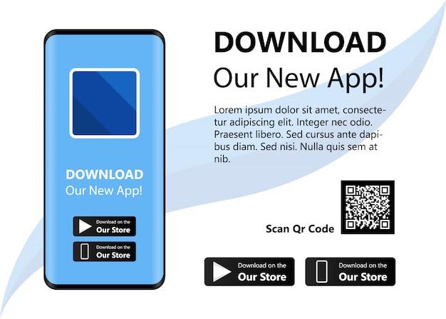 Baixe nosso novo aplicativo, ilustração vetorial de conceito de interface de aplicativo móvel