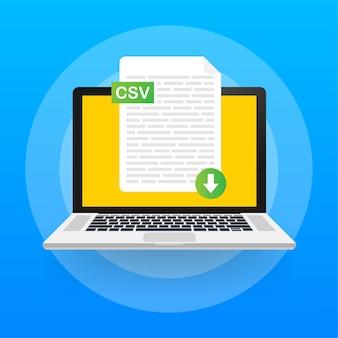 Baixe o botão csv na tela do laptop. baixando o conceito do documento. arquivo com rótulo csv e sinal de seta para baixo.