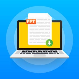 Baixe o botão ppt. baixando o conceito do documento. arquivo com etiqueta ppt e sinal de seta para baixo.