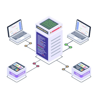Baixe o ícone isométrico de qualidade premium da rede de armazenamento de bitcoin