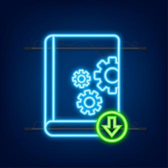 Baixe o livro do manual do usuário em estilo simples. estilo neon. ilustração vetorial.