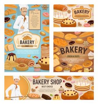 Baker assando pão, bolos de sobremesa de padaria