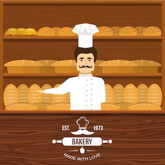 Baker atrás do design do balcão com homem bigodudo e prateleiras de madeira de pão