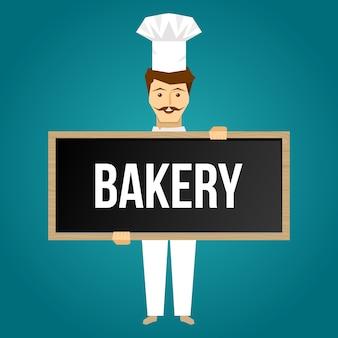 Baker mantém design de placa com alegre jovem solteiro em uniforme branco