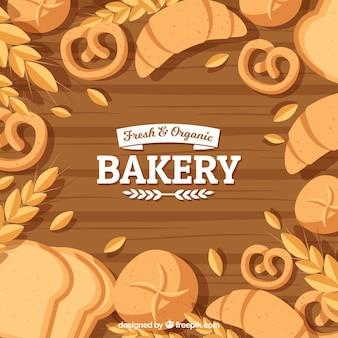 Bakery background com pão em estilo plano