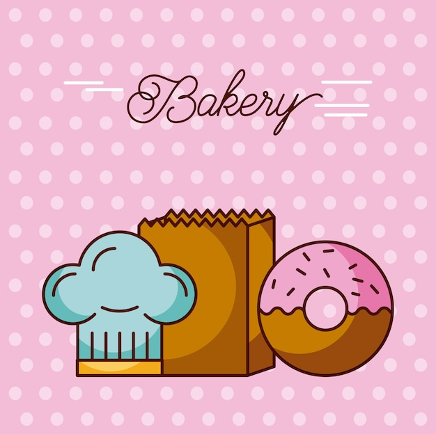 Bakery sweet donut hat chef and paper bag dots background