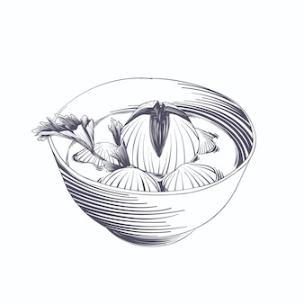 Bakso de gravura desenhada à mão