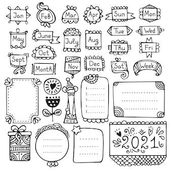 Bala jornal mão extraídas elementos do vetor para caderno, diário e planejador.
