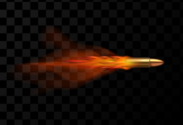 Bala voadora realista com rastro vermelho de fogo isolado em fundo escuro transparente