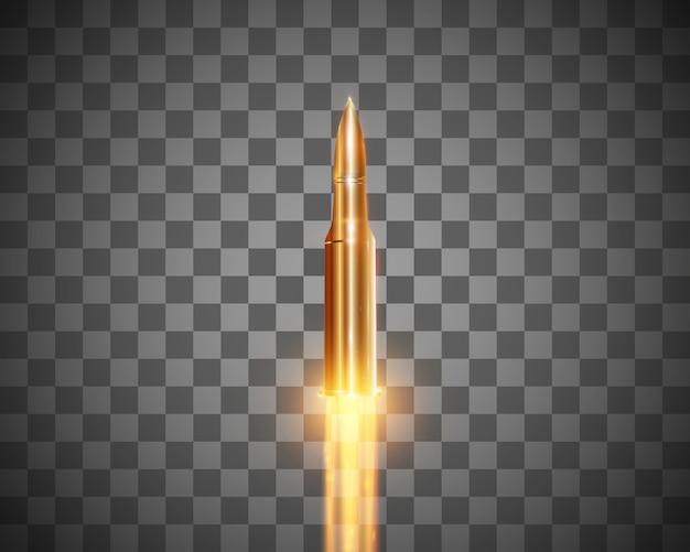 Bala voadora realista com um tiro de lança-chamas isolado em um fundo transparente, conjunto de tiros de bala em movimento
