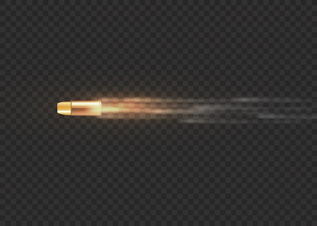 Bala voadora realista em movimento. tiros, bala em movimento, trilhas militares de fumaça. traços de fumaça isolados em fundo transparente. trilhas de tiro de pistola. ilustração, .