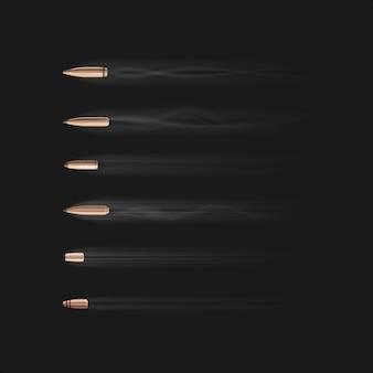 Bala voadora. vários tipos de projéteis de arma de fogo em câmera lenta. bala voadora realista com vestígios de fumaça em fundo preto. tiroteio, tiro de arma de metal, ilustração de munição