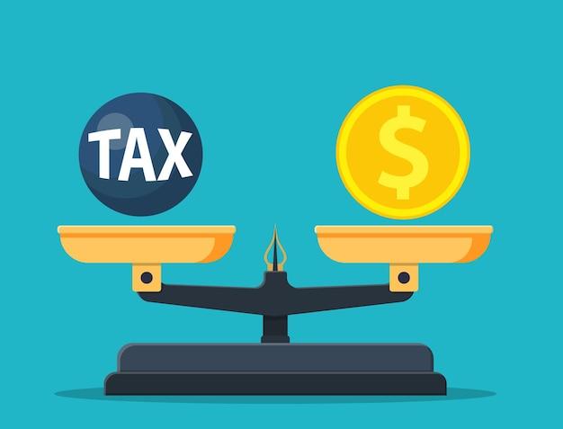 Balança balanceada com bola de peso fiscal e dinheiro