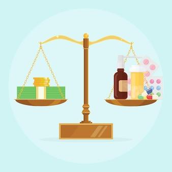 Balança com pilha de dinheiro e ilustração do frasco de comprimidos