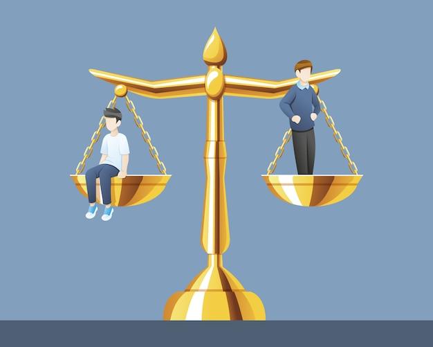 Balança da justiça com o mesmo peso