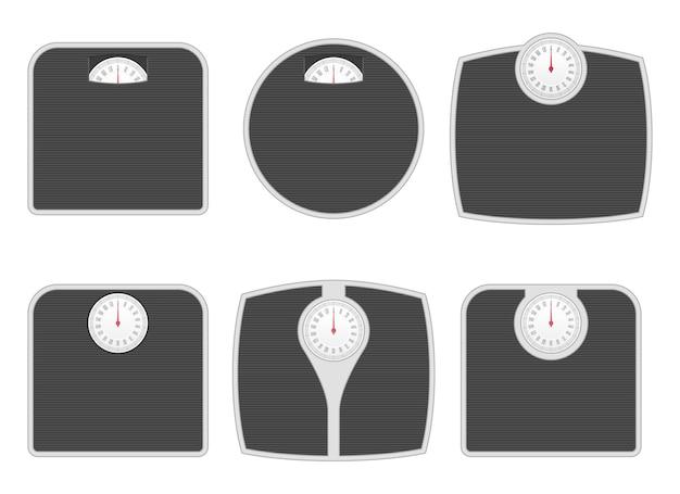 Balança de banheiro em diferentes formas ilustração vetorial