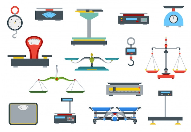 Balança de loja plana. coleção de balanças eletrônicas e mecânicas para loja