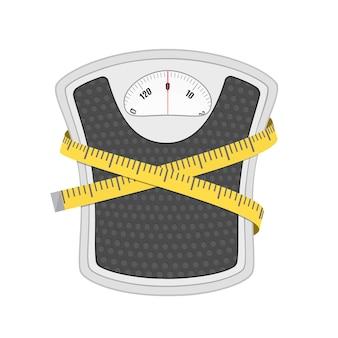 Balança de peso de chão de banheiro e fita métrica. em estilo simples
