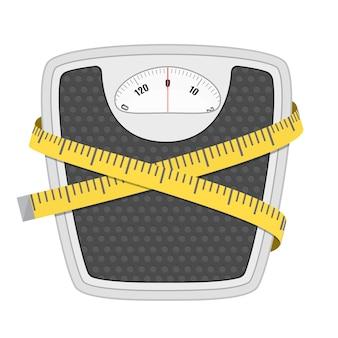 Balança de peso de chão de banheiro e fita métrica