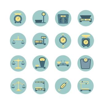 Balança vintage, balanças eletrônicas e mecânicas, ícones de vetor plana de medição de peso