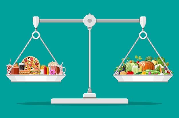 Balanças com fast food e produtos orgânicos.