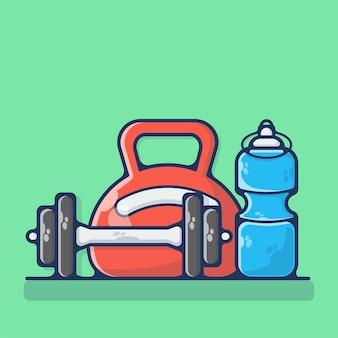 Balanças de peso e garrafa isoladas em verde