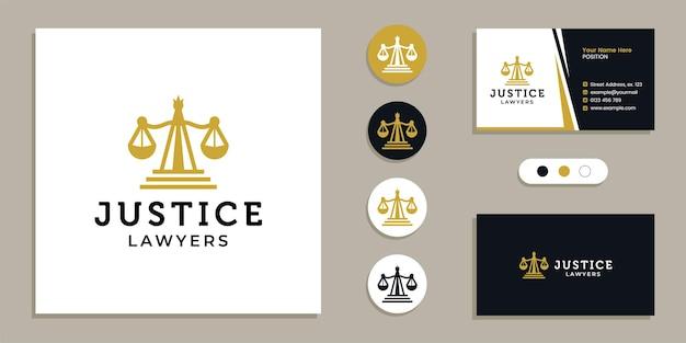 Balanças de peso, logotipo de escritório de advocacia de justiça e inspiração de modelo de design de cartão de visita