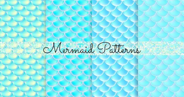 Balanças de sereia. fish squama. conjunto de padrões sem emenda azuis. ilustração colorida. fundo aquarela. impressão em escala.