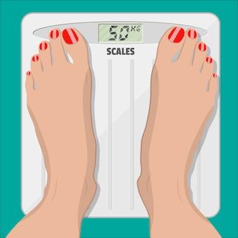 Balanças eletrônicas e pés femininos com pedicure