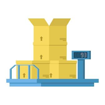 Balanças industriais com caixas de e-dial e caixa.