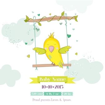 Balanço bonito do papagaio. chá de bebê ou cartão de chegada em