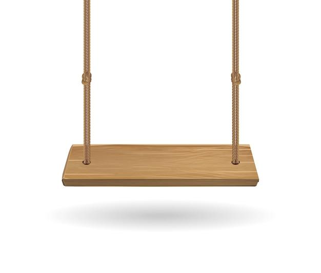 Balanço de madeira pendurado com corda no fundo branco