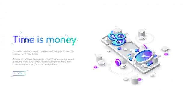 Balanço de tempo e dinheiro em escala