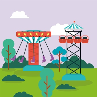 Balanços e parque de diversões em queda livre