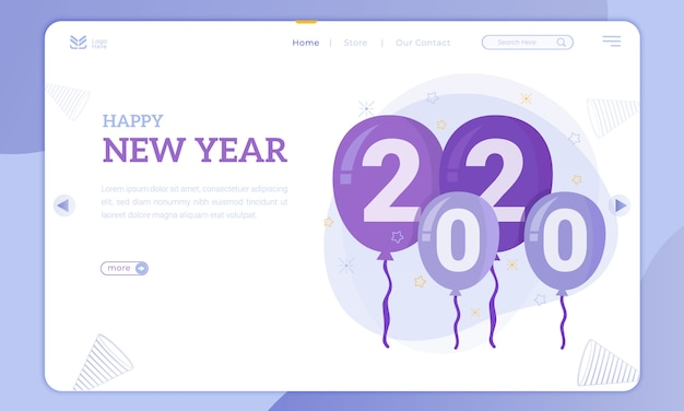 Balão 2020 para o tema do ano novo na página de destino