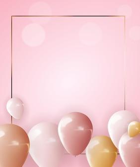 Balão 3d realista e moldura dourada