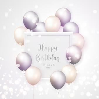 Balão 3d realista elegante lilás cinza creme branco e moldura quadrada fundo de modelo de banner de cartão de celebração de feliz aniversário